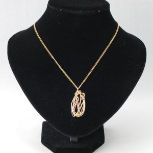 Abstract Oval Gold Chain Pendant Necklace