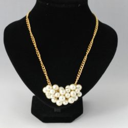 Cream Pearl Cluster Chunky Gold Chain Necklace