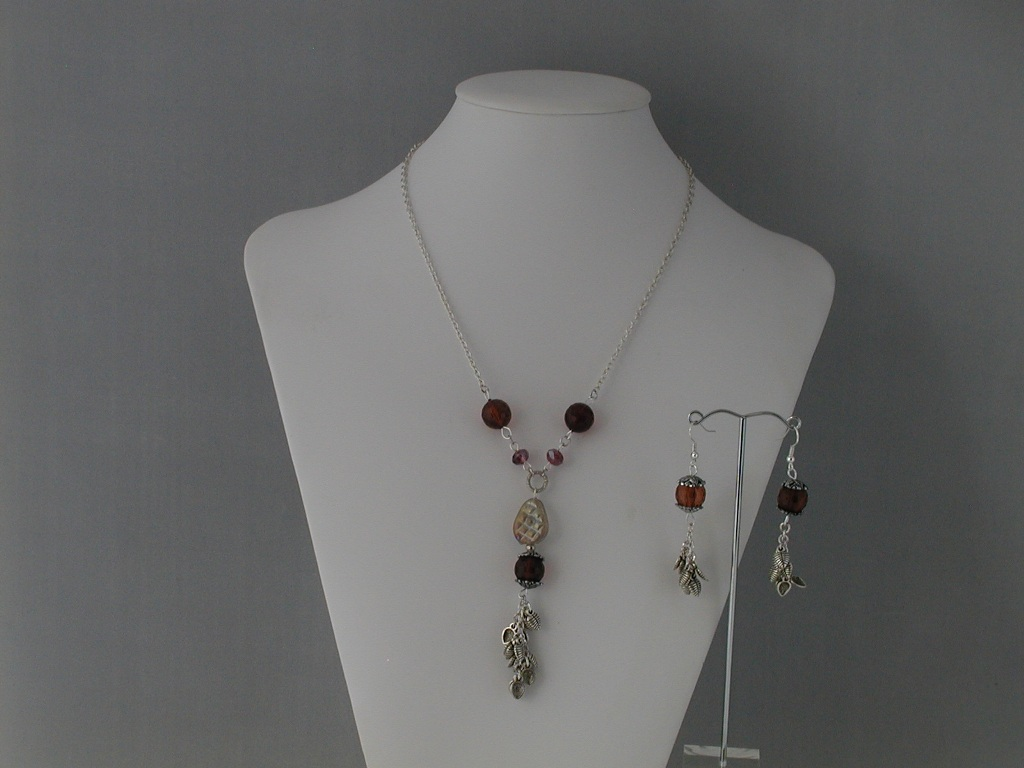 Amber Bead Silver Leaf Dangle Pendant Necklace Ear Rings Set