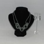 Silver Gray Seed Bead Rings Necklace Ear Rings