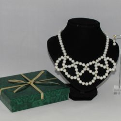 White Pearls Gold Beads Loops Two Piece Set
