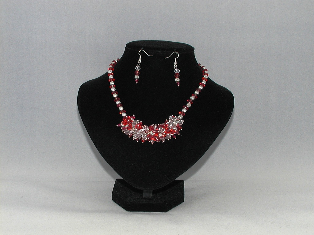 Red Bi-cone Silver Bead Spiky Necklace Ear Rings Set