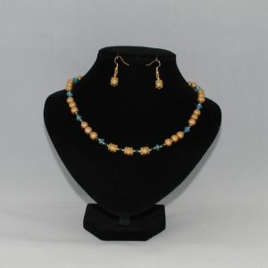 Golden Pearls Blue Crystal Necklace Ear Rings Set