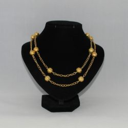 Two Strand Gold Filigree Bead Chain Linked Necklace