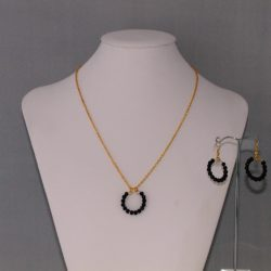 Gold Chain Black Pearl Hoops Necklace Ear Rings
