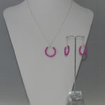 Silver Chain Fuchsia Pearl Hoops Necklace Ear Rings