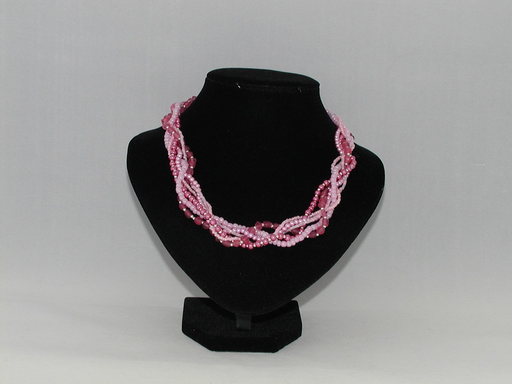 Mixed Pink Bead Six Strand Necklace