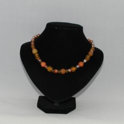Mixed Golden Glass Beads Draw Bench Bead Necklace