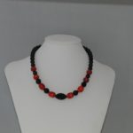 Black Pearls Red Indian Glass Striped Beads Necklace
