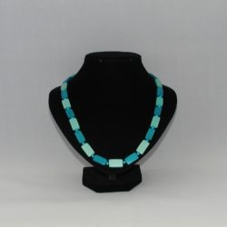 Two Tone Blue Wooden Bead Necklace
