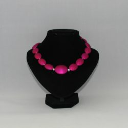 Fuchsia Oval Bead Necklace