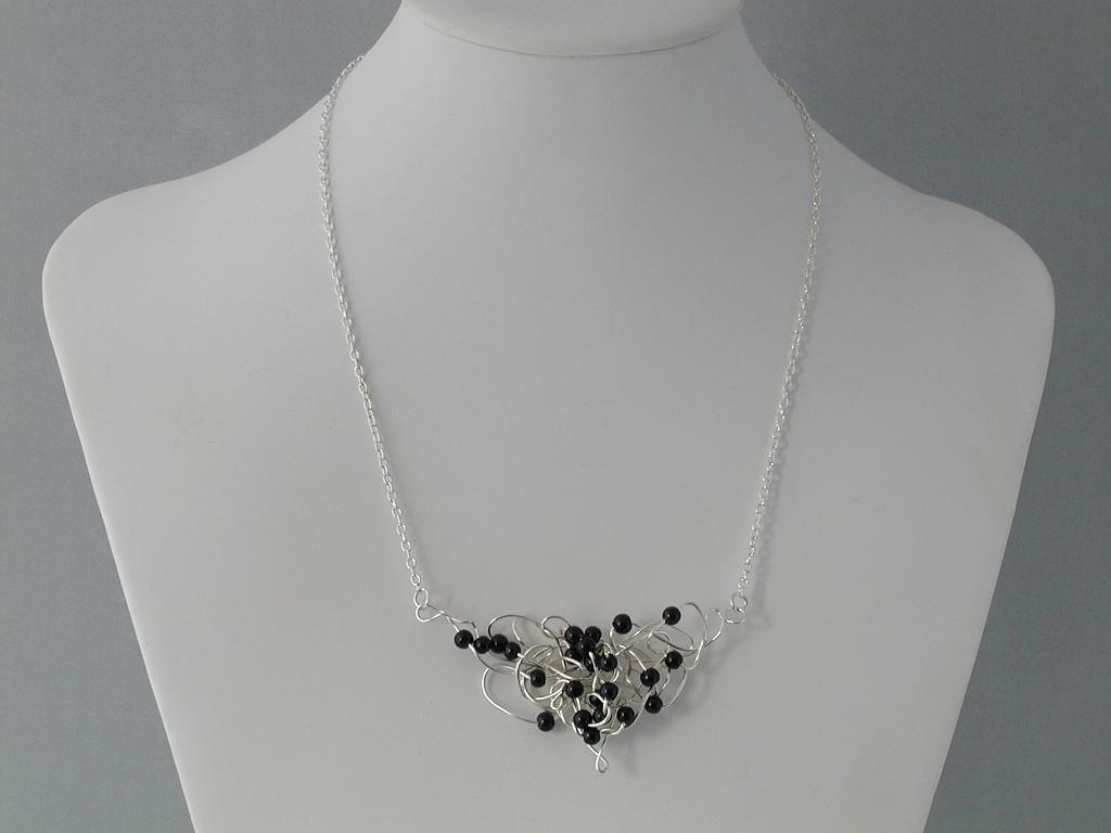 Silver Wire Black Pearls Butterfly Squiggle Necklace