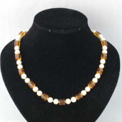 Cream Pearls Amber Glass Tubes Necklace
