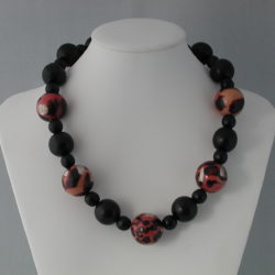 Black Wooden Beads Acrylic Animal Print Beads Necklace