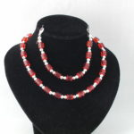 Red Tubes Silver Beads Necklace Bracelet
