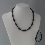 Black White Red Hand Made Clay Beads Necklace Bracelet Set