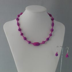 Pink Mauve Lilac Hand Made Clay Beads Necklace Ear Rings Set