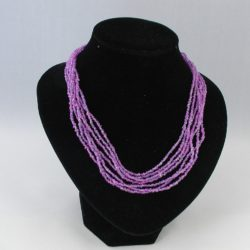 Lilac Seed Bead Seven Strand Necklace