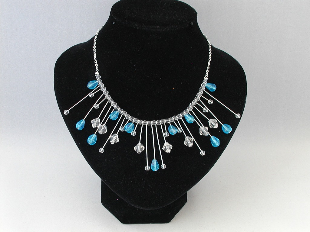 Clear Crystal Blue Crystal Silver Chain Choker Necklace