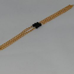 Two Strand Gold Chain Black Crystals Bracelet