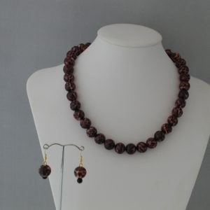 Animal Print Beads Necklace Ear Rings Set