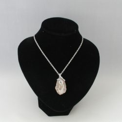 Beige White Large Geode Pendant Necklace