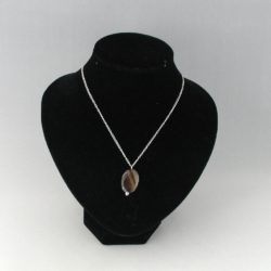 Oval Banded Carnelian Pendant Silver Chain Necklace
