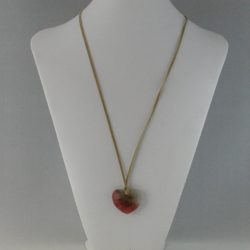 Beige Amber Heart Bead Pendant Suede Cord Necklace