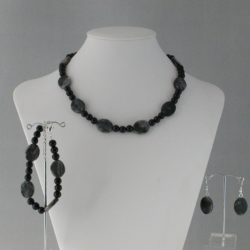 Black Pearls Jasper Ovals Three Piece Set