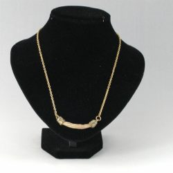 Gold Chain Caramel Cord Gold End Cap Necklace