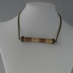 Bronze Chain Caramel Cord Wrapped Centre Piece Necklace