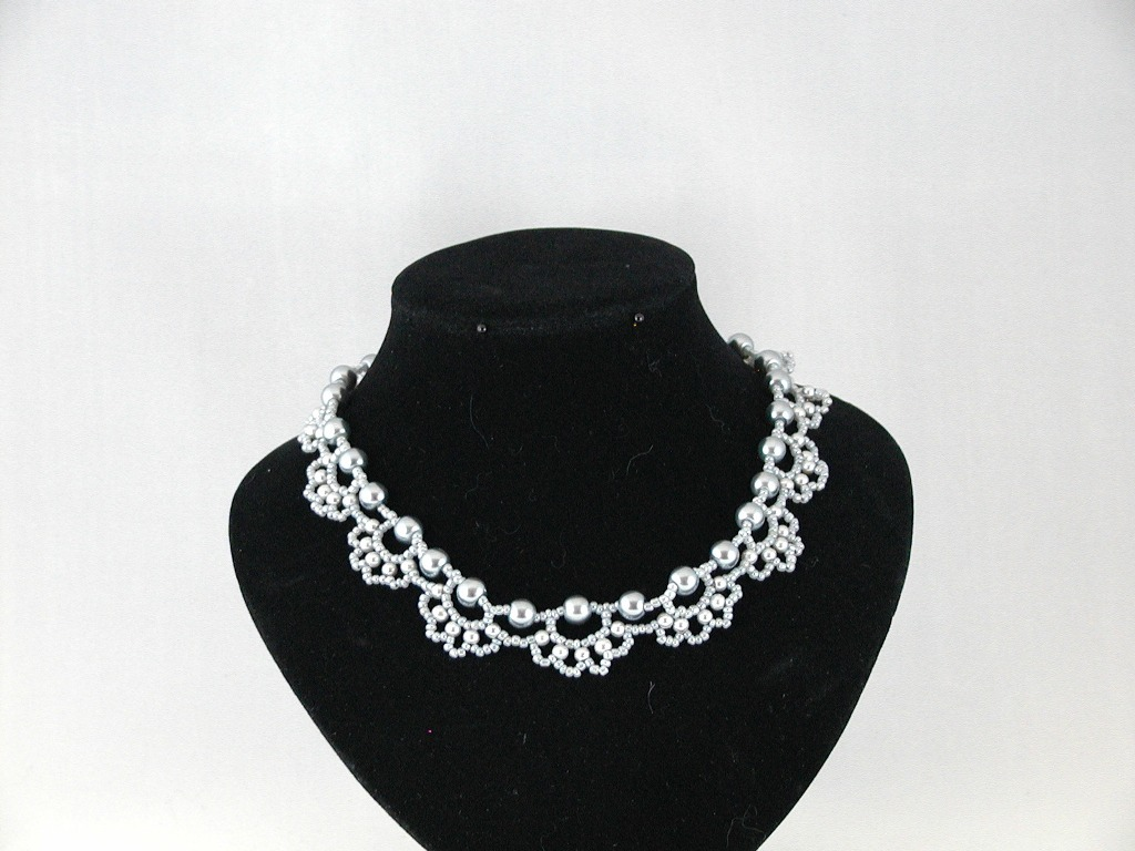 Gray Pearls Loops Choker Necklace