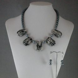 Gray Mottled Marble Gray Pearls Necklace Ear Rings