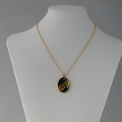 Black Gold Star Dust Oval Pendant Gold Chain Necklace