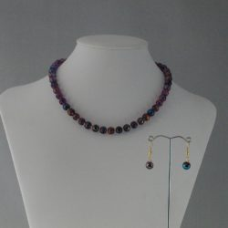 Purple Gold Blue Draw Bench Bead Necklace Ear Rings Set