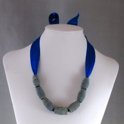 Blue Ribbon Blue Cream Striped Bead Necklace