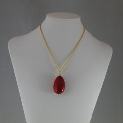 Burgundy Red Large Acrylic Oval Pendant Necklace