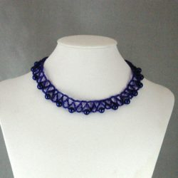 Blue Metallic Seed Beads Blue Pearls Choker Necklace