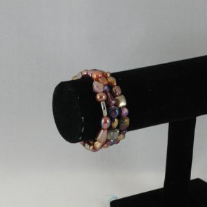 Amber Red Memory Wire Bracelet