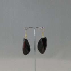 Black Red Lozenge Drop Ear Rings