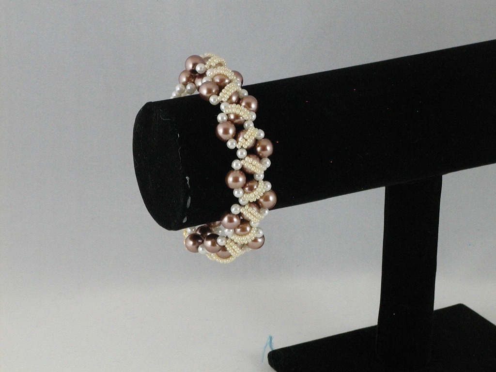 Cream Coffee Pearls Cream Seed Bead Wide Bracelet