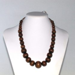 Mixed Brown Wooden Beads Organza Ribbon Necklace