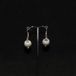Large Antique Silver Ball Ear Rings