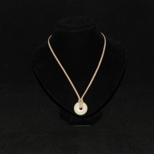 Beige Ceramic Do Nut Bead Suede Cord Pendant Necklace