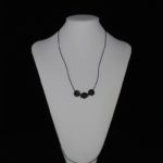 Beige Black Wooden Beads Black Leather Cord Necklace