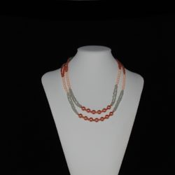 Peach Gray Double Strand Necklace