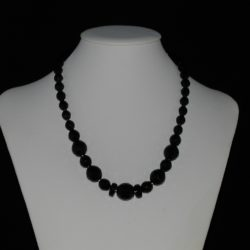 Mixed Sizes Black Glass Rondelle Bead Necklace
