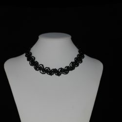 Black Pearls Black Seed Beads Looped Swirls Necklace