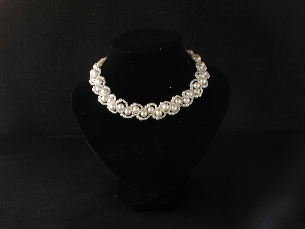 Ivory Pearls Ivory Seed Beads Looped Swirls Necklace