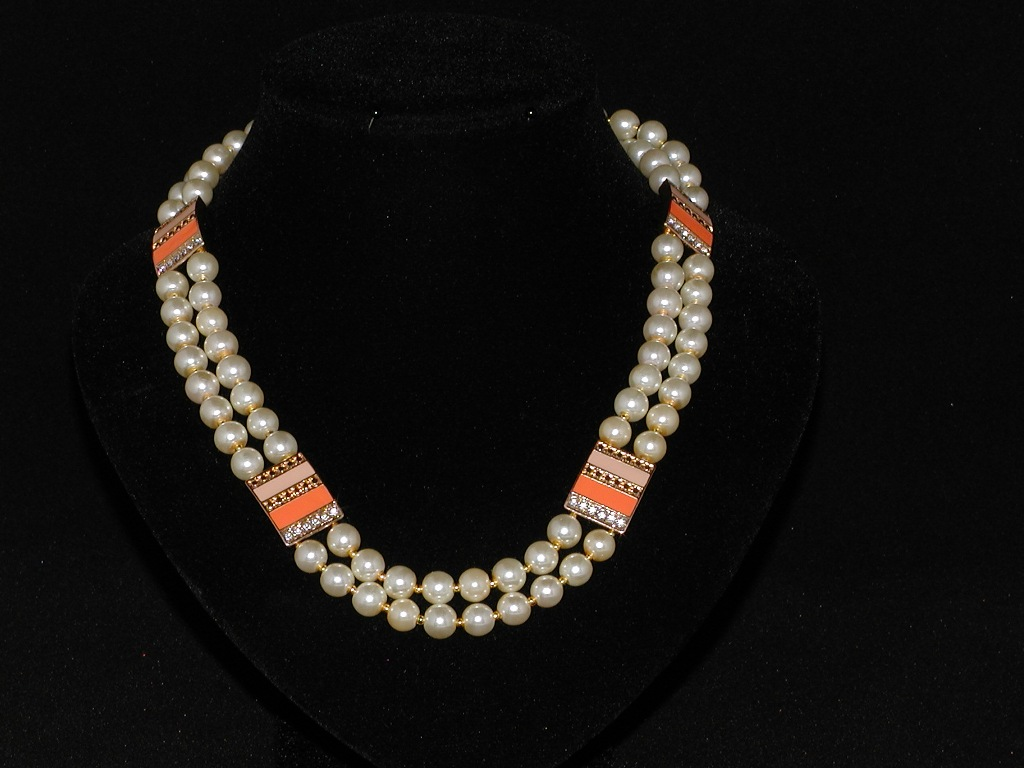 Ivory Pearls Diamante Oblongs Double Strand Necklace